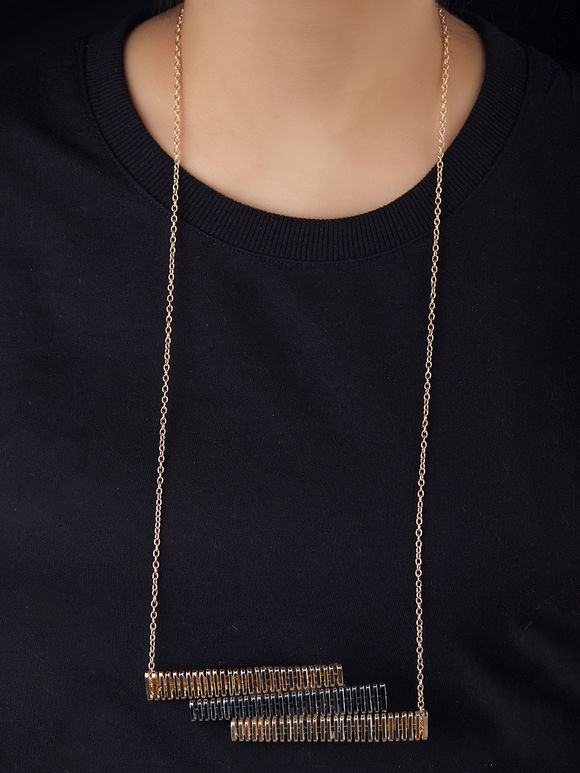 Dual Toned Guitar Brass Necklace
