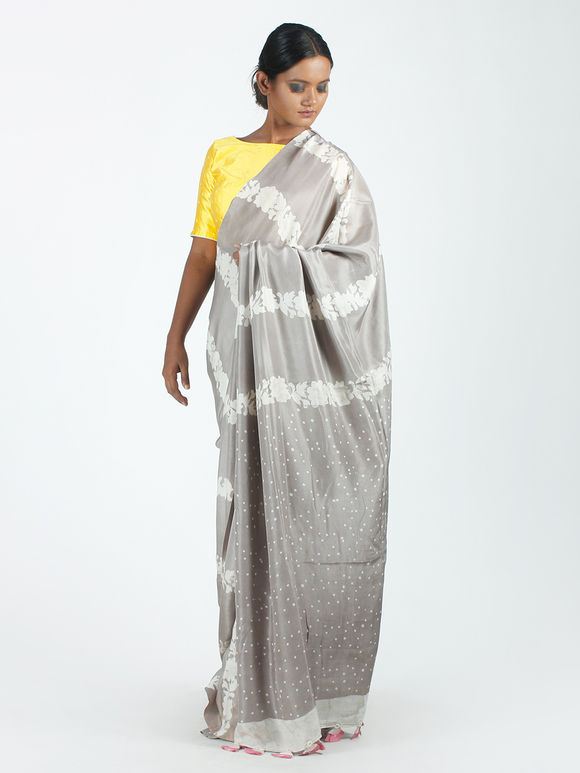 Grey Off White Floral Hand Block Printed Mulberry Silk Saree