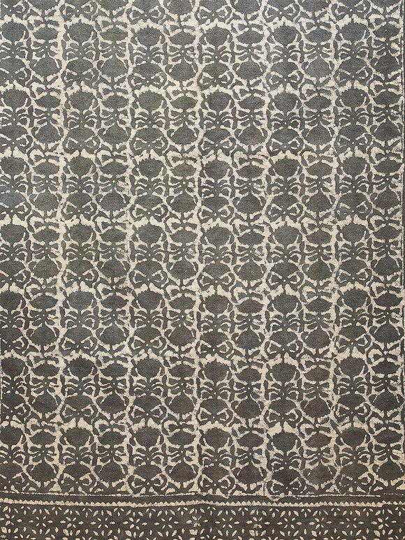 Grey Hand Block Dabu Printed Cotton Rug