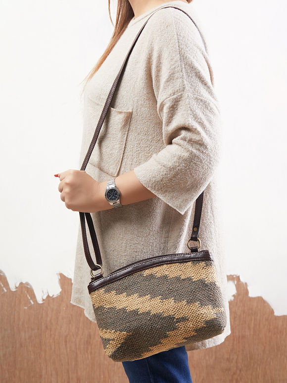 Grey Brown Handcrafted Faux Leather Sling Bag