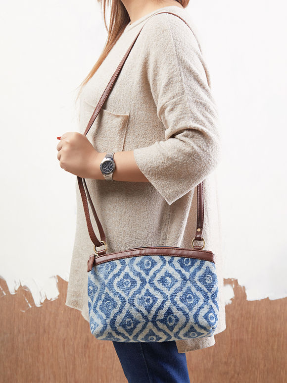 Indigo Handcrafted Faux Leather Sling Bag