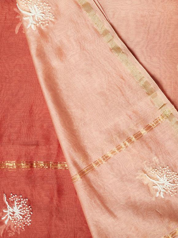 Rust Hand Embroidered Chanderi Silk Dupatta