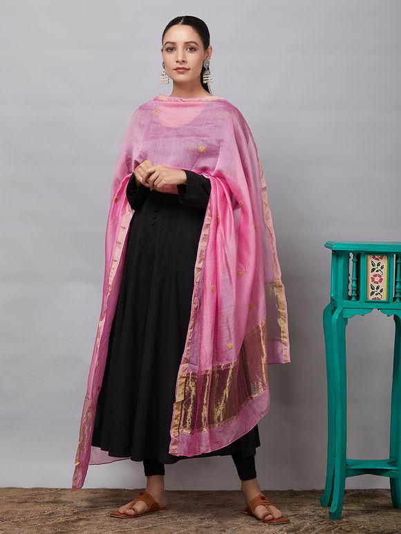 Pink Sequins Embroidered Chanderi Silk Dupatta