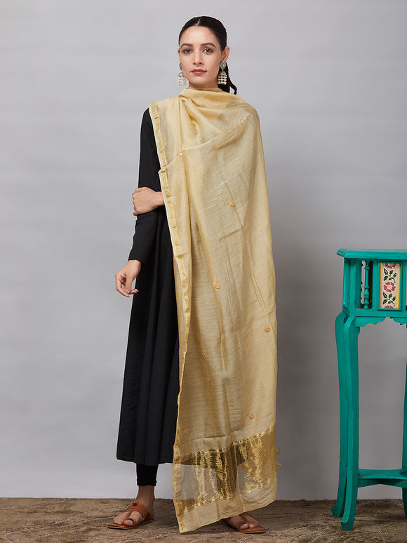 Beige Sequins Embroidered Chanderi Silk Dupatta