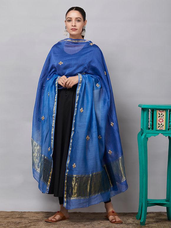 Blue Sequins Embroidered Chanderi Silk Dupatta