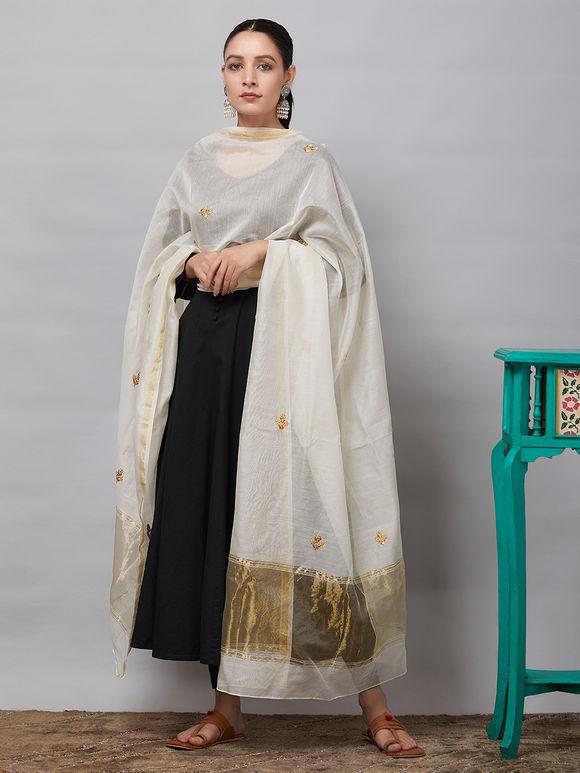 Off White Sequins Embroidered Chanderi Silk Dupatta