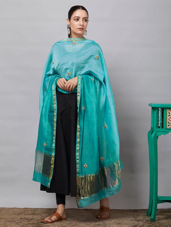 Aqua Blue Sequins Embroidered Chanderi Silk Dupatta