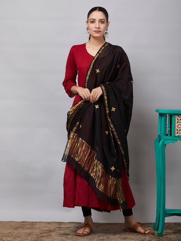 Black Sequins Embroidered Chanderi Silk Dupatta