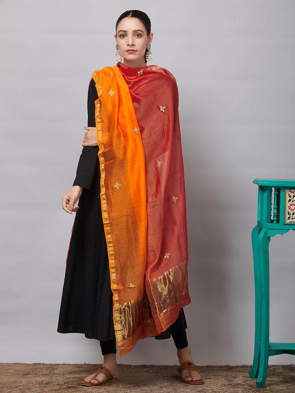 Rust Orange Sequins Embroidered Chanderi Silk Dupatta