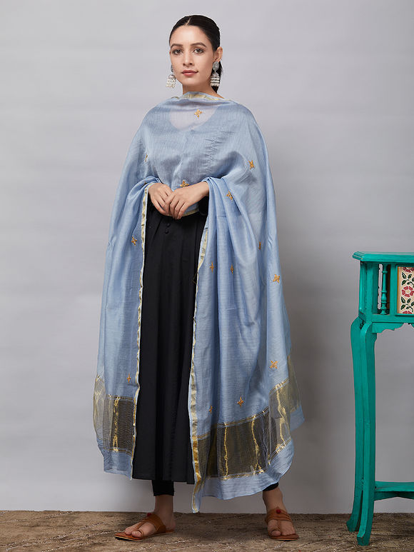 Grey Sequins Embroidered Chanderi Silk Dupatta