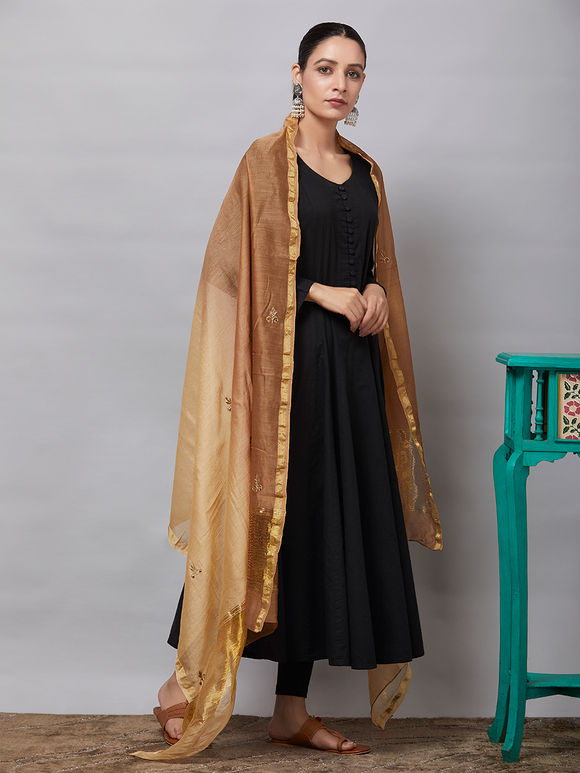 Beige Brown Zardozi Embroidered Chanderi Silk Dupatta