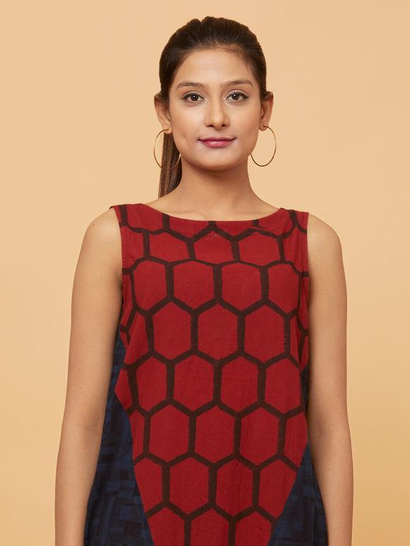 Maroon Cotton Ajrakh Printed Short Dress