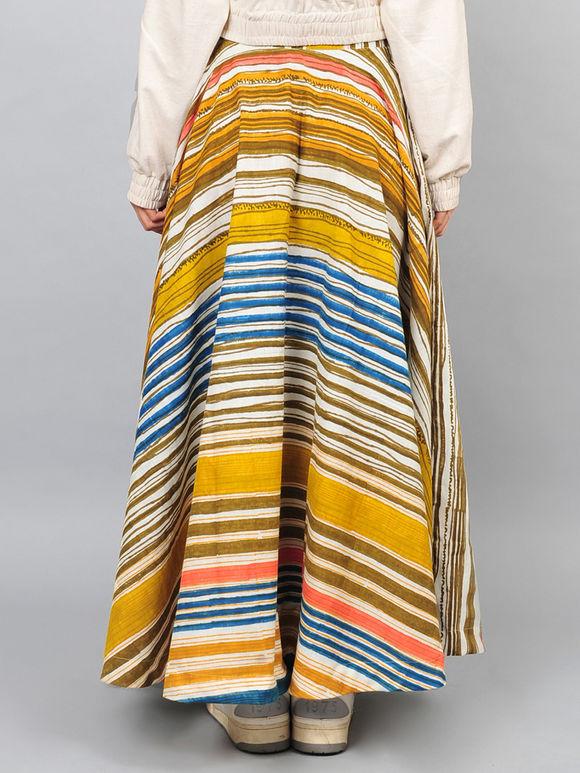 Multicolor Block Printed Handspun Khadi Skirt