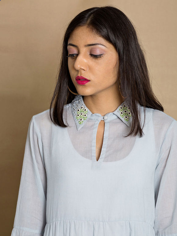 Blue Cotton Mul Hand Embroidered Top