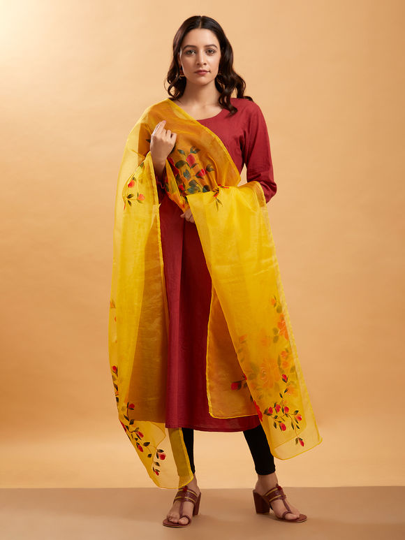Yellow Hand Painted Organza Dupatta