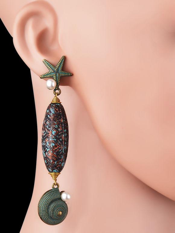 Green Starfish Silver Long Earrings