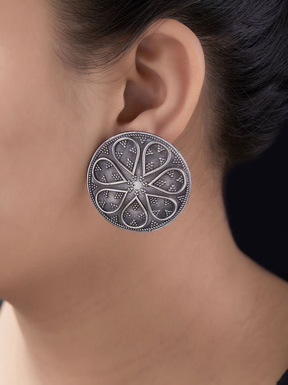 Silver Toned Handcrafted Brass Stud Earrings
