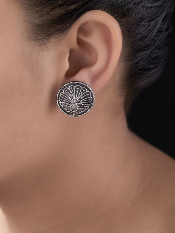 Silver Toned Handcrafted Peacock Brass Stud Earrings