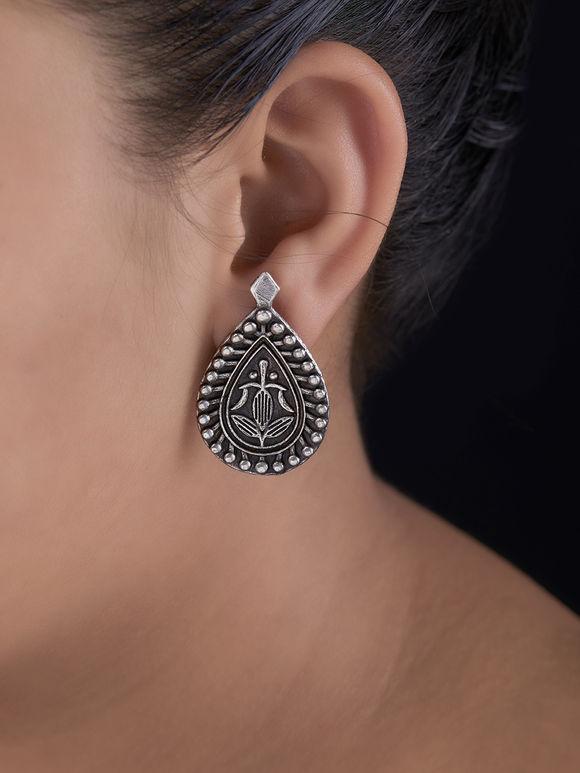 Silver Toned Handcrafted Brass Stud Earrings