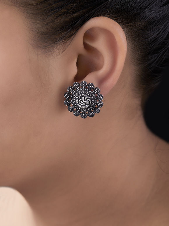 Silver Toned Handcrafted Ganesha Brass Stud Earrings