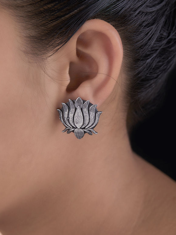 Silver Toned Handcrafted Lotus Brass Stud Earrings