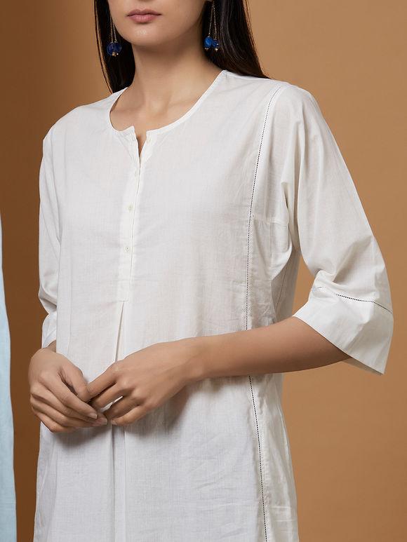 White Cotton Kalidar Kurta