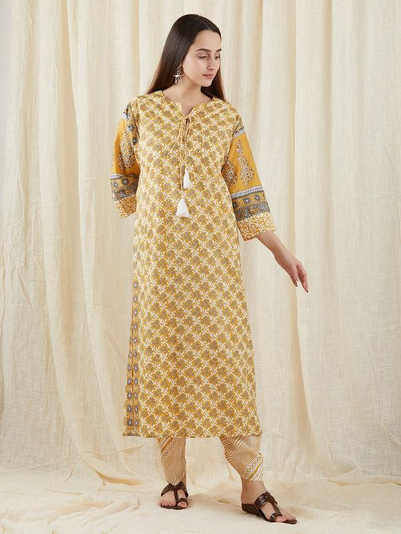 Mustard Yellow Grey Hand Block Printed Cotton Kalidar Suit- Set of 3