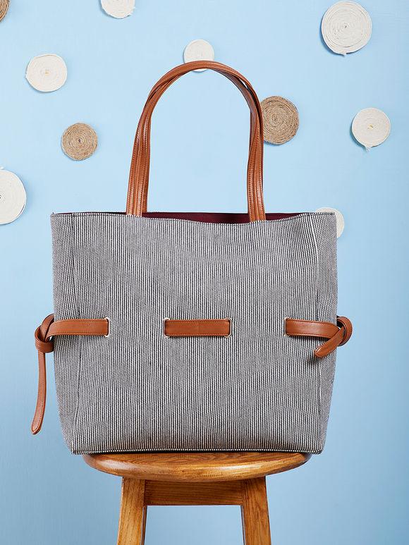 Black White Hand Embroidered Cotton Tote Bag