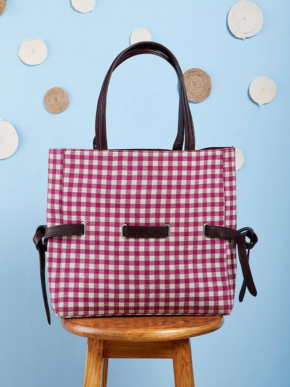 Red White Hand Embroidered Cotton Checkered Tote Bag