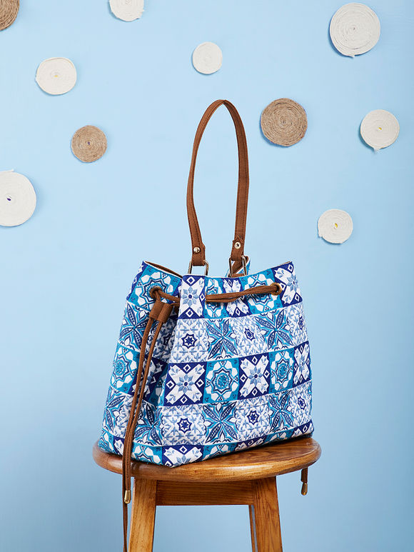 White Blue Hand Embroidered Cotton Hobo Bag