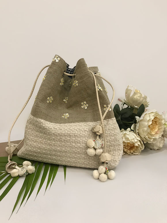 Off White Handcrafted Cotton Jute Bag with Yellow Beads