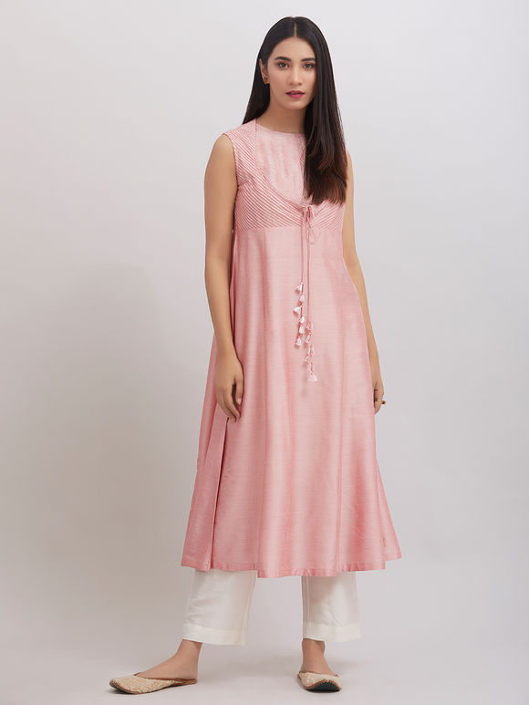 Old Rose Pintuck Katan Silk Kurta