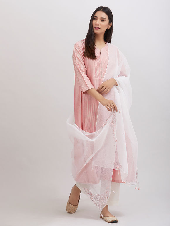 Old Rose Pintuck Katan Silk Kalidar Kurta with Off White Pants and Hand Embroidered Kota Doria Dupatta - Set of 3