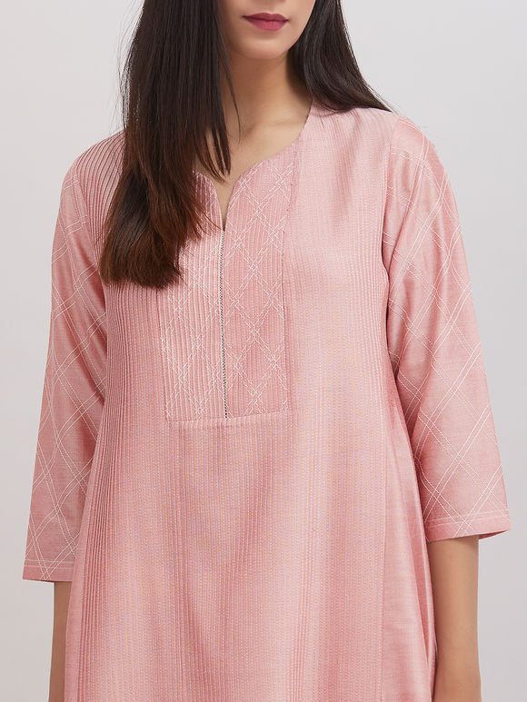 Old Rose Pintuck Katan Silk Kaldiar Kurta