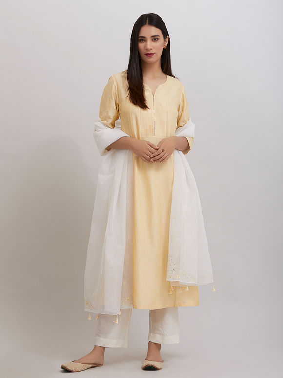 Yellow Pintuck Katan Silk Kalidar Kurta with Off White Pants and Hand Embroidered Kota Doria Dupatta - Set of 3