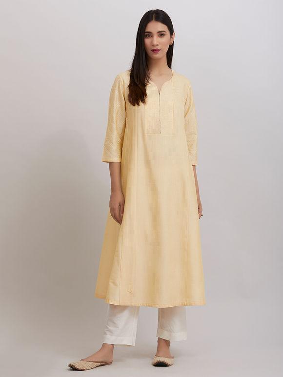 Yellow Pintuck Katan Silk Kalidar Kurta