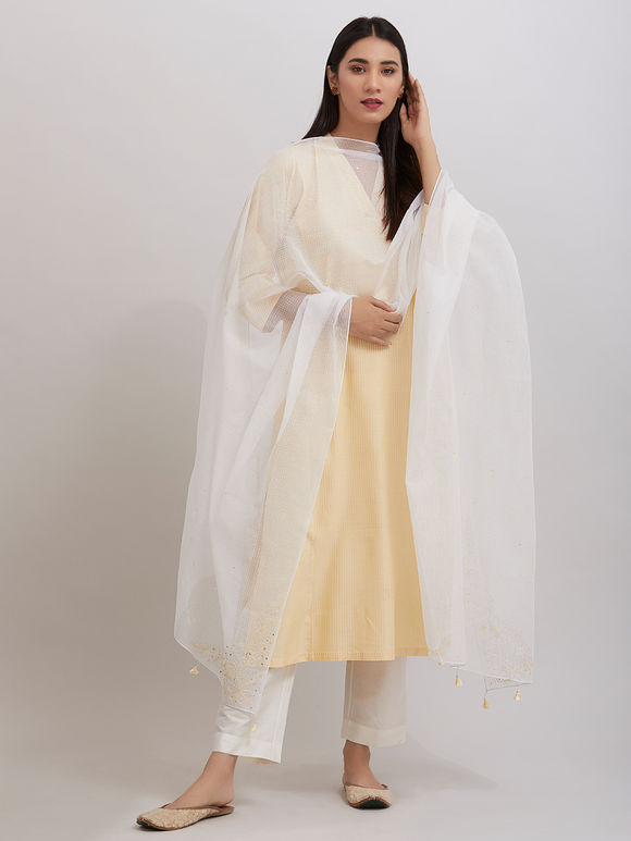 Yellow  Pintuck Katan Silk Kurta with Off White Pants and Hand Embroidered Kota Doria Dupatta - Set of 3