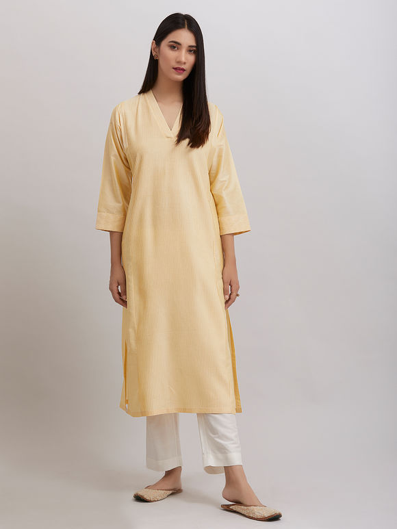 Yellow Pintuck Katan Silk Kurta