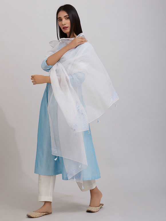 Sky Blue Pintuck Katan Silk Kalidar Kurta with Off White Pants and Hand Embroidered Kota Doria Dupatta - Set of 3