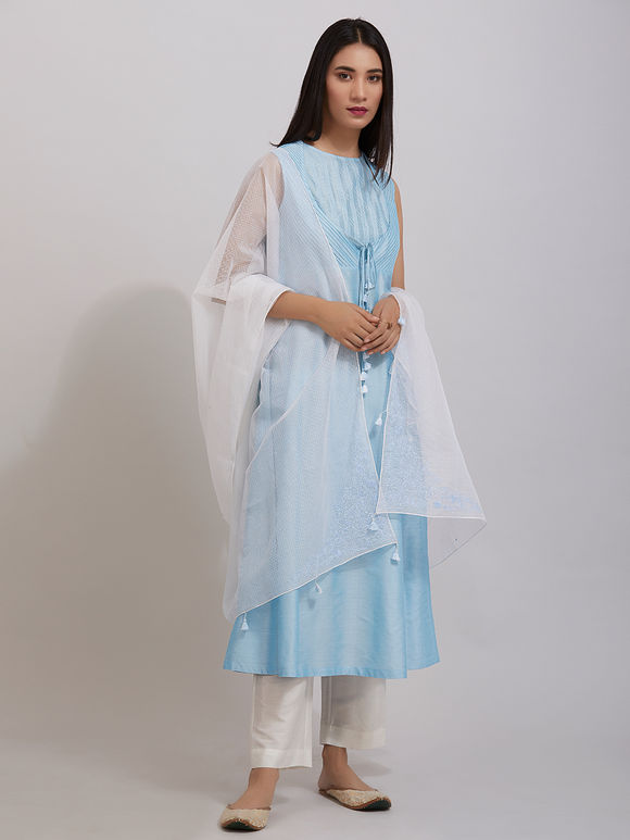 Sky Blue Pintuck Katan Silk Kurta with Off White Pants and Hand Embroidered Kota Doria Dupatta - Set of 3