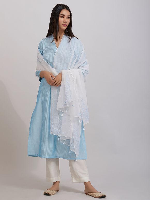 Sky Blue Pintuck Katan Silk Kurta with Off White Pants and Hand Embroidered Kota Doria Dupatta - Set of 3