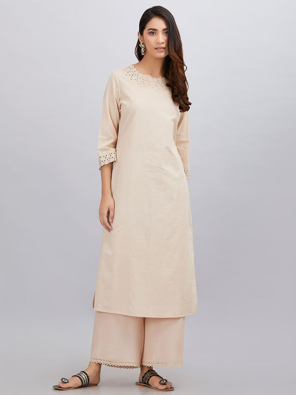 Beige Cutwork Embroidered Cotton Kurta