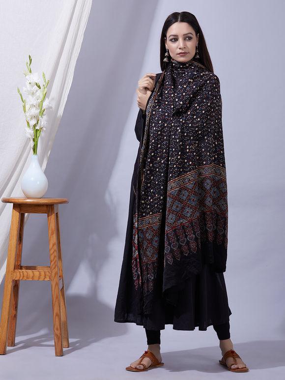 Black Blue Ajrakh Printed Modal Silk Dupatta