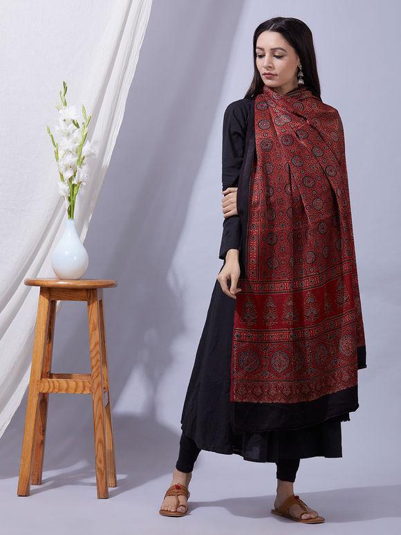 Rust Ajrakh Printed Modal Silk Dupatta