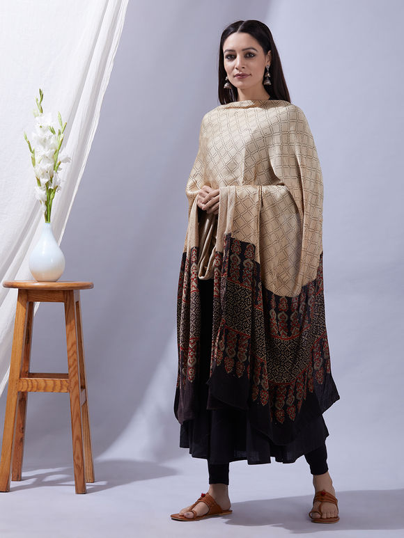 Beige Black Ajrakh Printed Modal Silk Dupatta