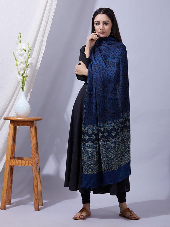 Navy Blue Ajrakh Printed Modal Silk Dupatta