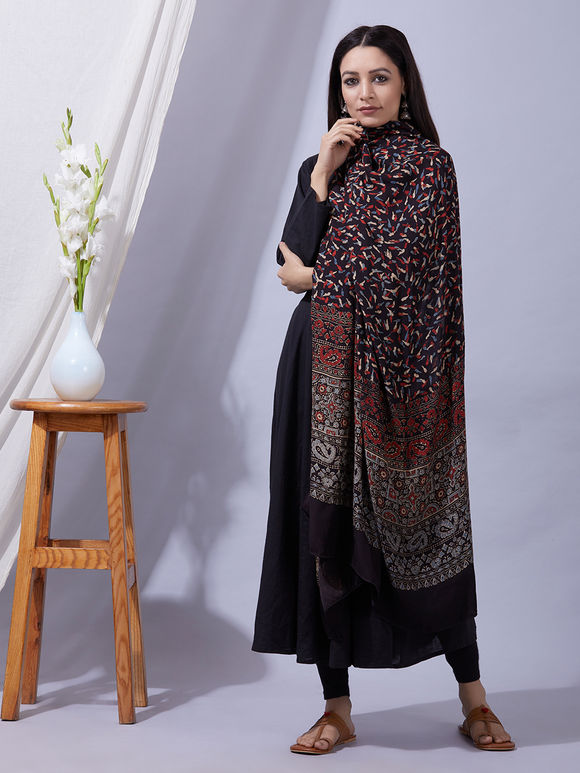 Black Rust Ajrakh Printed Modal Silk Dupatta