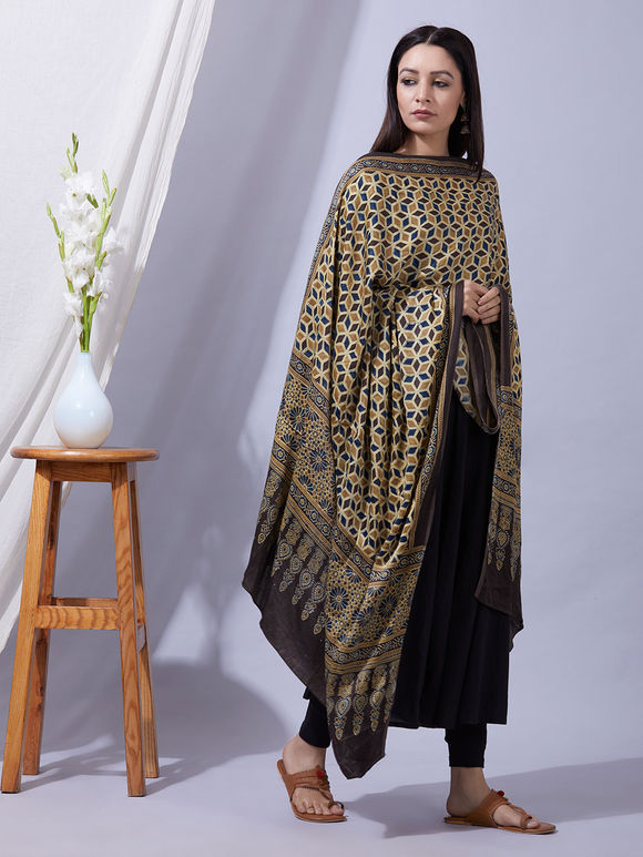 Multicolor Ajrakh Printed Modal Silk Dupatta