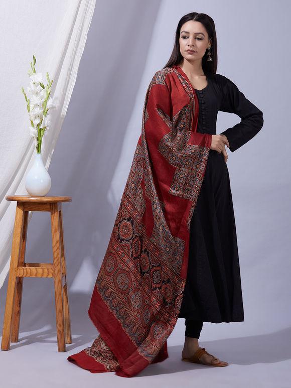 Maroon Ajrakh Printed Modal Silk Dupatta