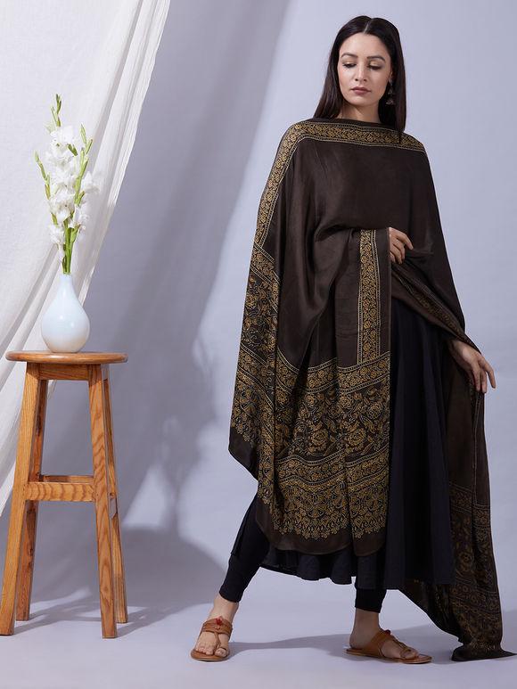 Olive Green Ajrakh Printed Modal Silk Dupatta